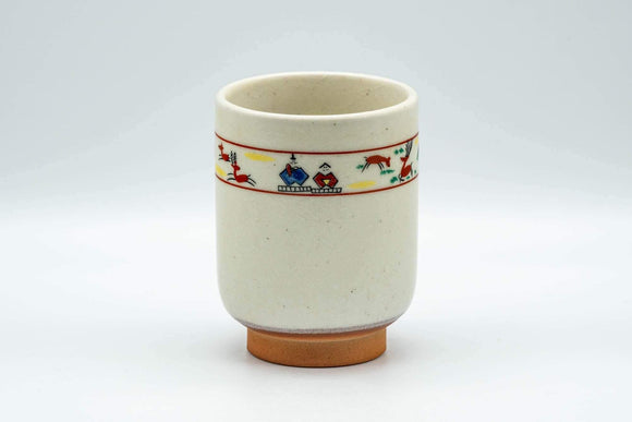 Japanese Teacup - Prancing Deer and Villagers White Glazed Yunomi - 200ml - Tezumi