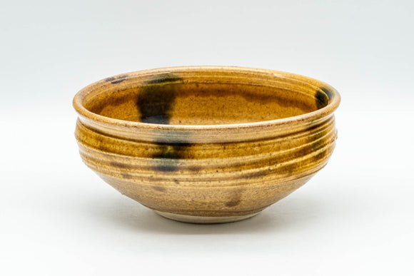Japanese Matcha Bowl - Golden-Yellow and Green Patch Glazed Chawan - 300ml