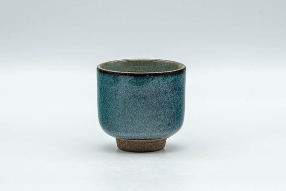 Japanese Teacup - Turquoise Blue Hare's Fur Glazed Guinomi - 40ml - Tezumi