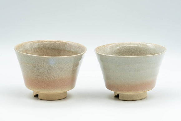 Japanese Teacups - Pair of Sori-gata Hagi-yaki Yunomi - 90ml