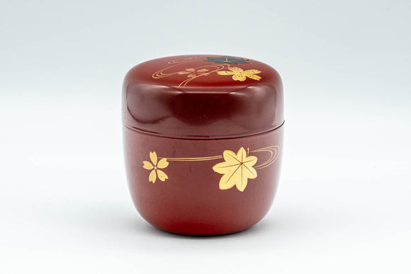 Japanese Natsume - Floral Red Lacquer Matcha Tea Caddy - 100ml