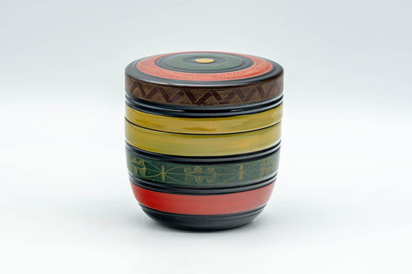 Japanese Natsume - Geometric Green, Red, and Yellow Striped Matcha Caddy - 100ml - Tezumi