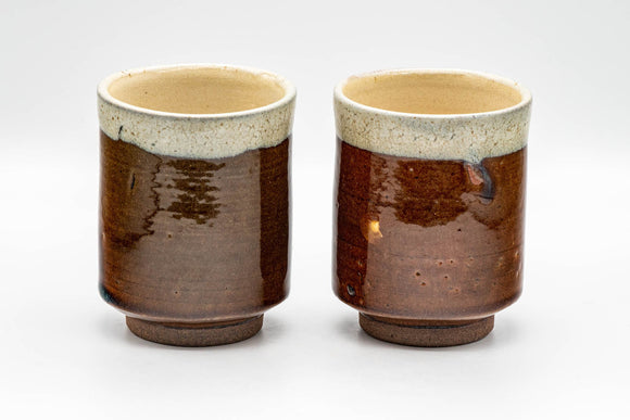Japanese Teacups - Pair of Drip-Glazed Tsutsu-gata Yunomi - 220ml