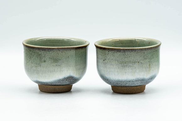 Japanese Teacups - Pair of Green Drip-Glazed Yunomi - 100ml - Tezumi