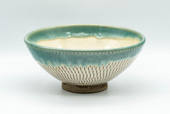 Japanese Matcha Bowl - Teal Drip-Glazed Agano-yaki Chawan - 250ml