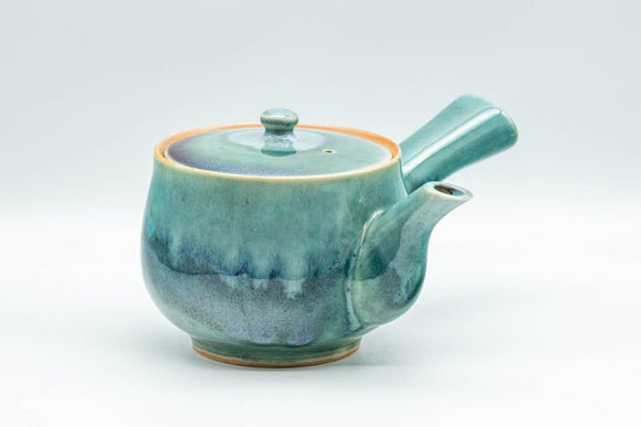 Japanese Kyusu - Teal Green Drip-Glazed Debeso Teapot - 300ml