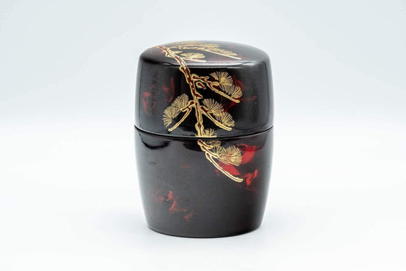 Japanese Natsume - Large Red Gold Plastic Tea Caddy - 150ml - Tezumi