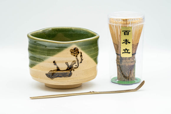 Japanese Matcha Set - Oribe-yaki Chawan with Bamboo Chasen Whisk and Chashaku Scoop - 450ml