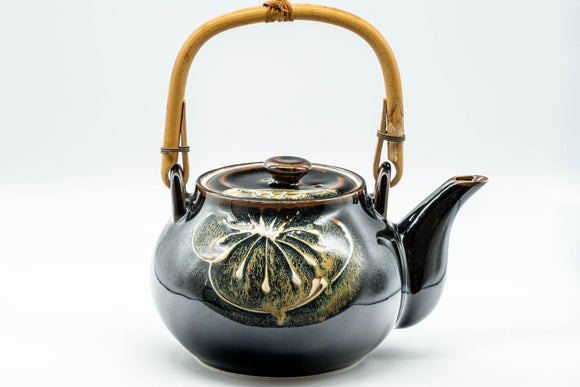 Japanese Dobin - Black Floral Debeso Top-Handle Teapot - 600ml - Tezumi