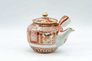 Japanese Kyusu - Red and Golden Geometric Patterned Katani-yaki Debeso Teapot - 200ml - Tezumi