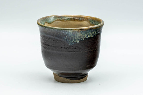 Japanese Teacup - Brown, Beige, and Blue Drip-Glazed Yunomi - 90ml - Tezumi