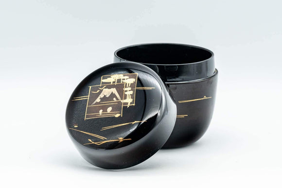 Japanese Natsume - Mt. Fuji Black Lacquer Matcha Tea Caddy - 100ml - Tezumi