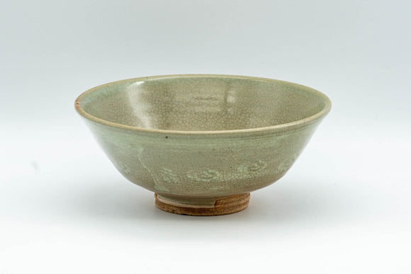 Japanese Matcha Bowl - 東峰 Crazed Celadon Glazed Hira-gata Mishima Chawan  - 200ml