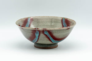 Japanese Matcha Bowl - Blue and Red Electric Striped Hira-gata Chawan - 200ml