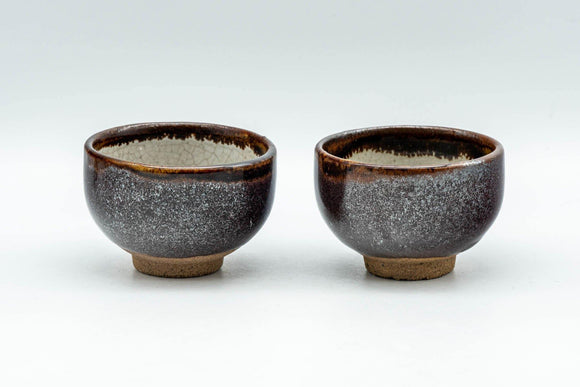 Japanese Teacups - Pair of Brown Tenmoku Glazed Guinomi - 40ml - Tezumi