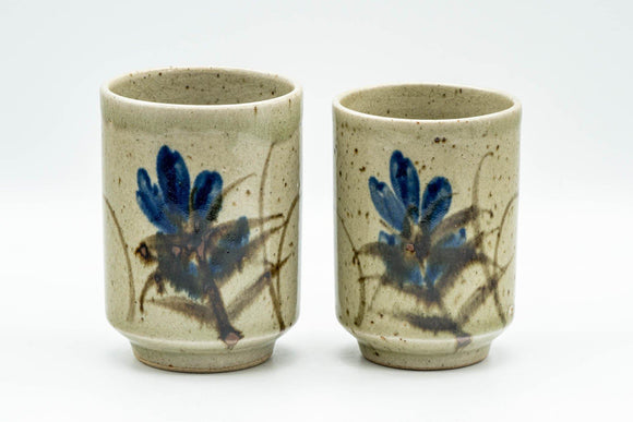 Japanese Teacups - Pair of Blue Floral Meoto Yunomi - Tezumi