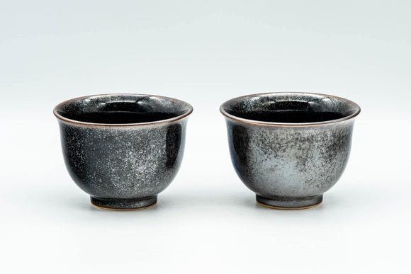 Japanese Teacups - Pair of Shiny Black Glazed Yunomi - 100ml - Tezumi