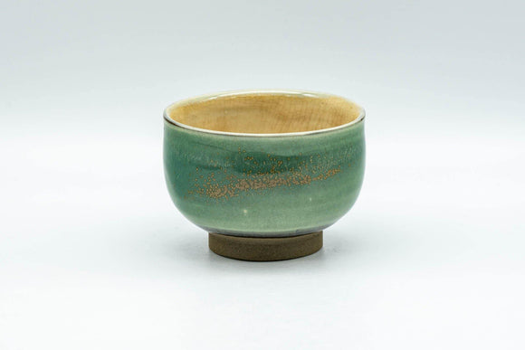 Japanese Teacup - Emerald Green Gold Speckled Yunomi - 80ml - Tezumi