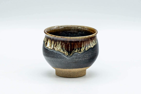 Japanese Teacup - Black and Brown Drip-Glazed Yunomi - 70ml - Tezumi