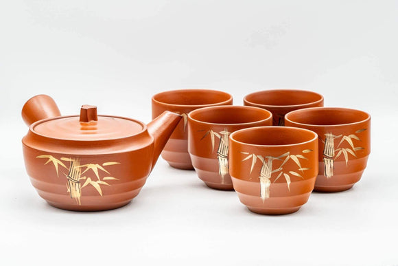 Japanese Tea Set - Gold Bamboo Tokoname-yaki Debeso Kyusu Teapot with 5 Yunomi Teacups - Tezumi