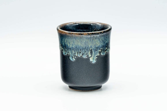Japanese Teacup - Jet Black Hare's Fur Drip Glazed Guinomi - 60ml - Tezumi