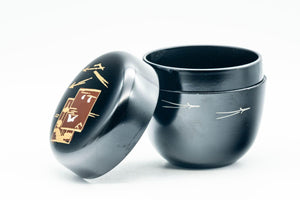 Japanese Natsume - Black Motifs Urushi Lacquer Matcha Tea Caddy - 100ml - Tezumi