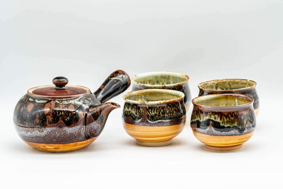 Japanese Tea Set - Drip Glazed Arita-yaki Debeso Kyusu Teapot with 4 Yunomi Teacups - Tezumi