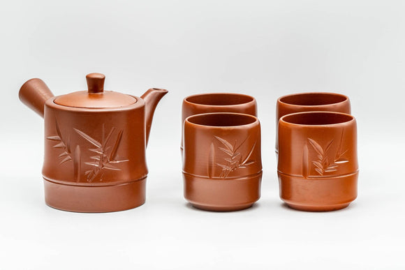 Japanese Tea Set - Bamboo Tokoname-yaki Debeso Kyusu Teapot with 4 Yunomi Teacups