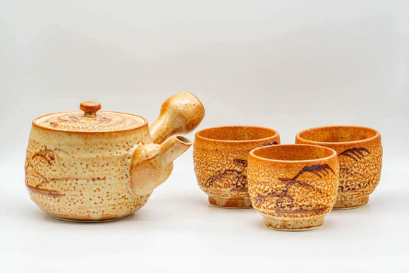Japanese Tea Set - Orange Shino Glazed Debeso Kyusu Teapot with 3 Yunomi Teacups - Tezumi