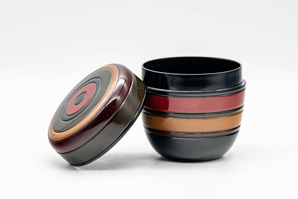 Japanese Natsume - Black, Red, Orange, and Green Striped Matcha Tea Caddy - 100ml - Tezumi