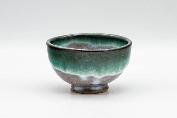 Japanese Teacup - Green Turquoise Drip-Glazed Yunomi - 90ml - Tezumi