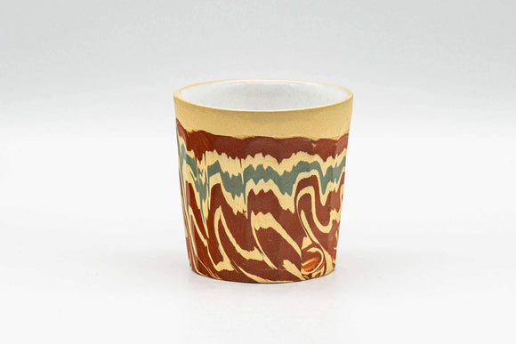 Japanese Teacup - Yellow, Red, and Green Nerikomi Yunomi - 70ml - Tezumi