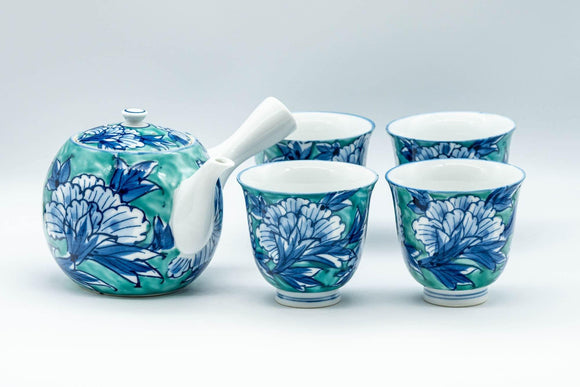 Japanese Tea Set - Blue Green Floral Arita-yaki Debeso Kyusu Teapot with 4 Yunomi Teacups - Tezumi