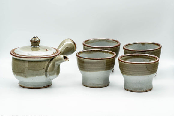 Japanese Tea Set - Green Grey Do-ake Kyusu Teapot and 4 Yunomi Teacups - Tezumi