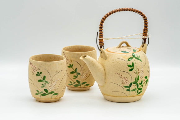 Japanese Tea Set - Floral Beige Glazed Debeso Dobin Teapot and 2 Yunomi Teacups
