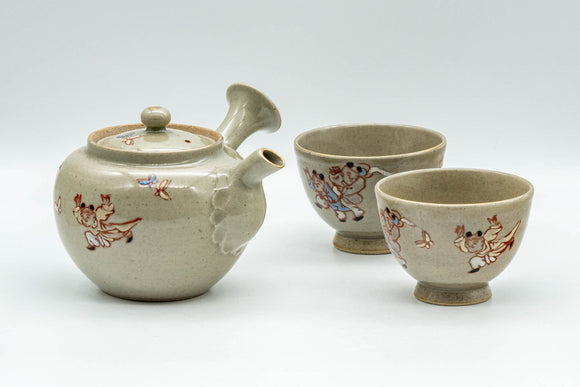Japanese Tea Set - Banko-yaki Butterflies Kyusu Teapot and 2 Yunomi Teacups