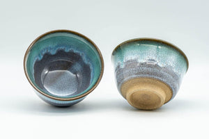 Japanese Teacups - Pair of Turquoise Drip-Glazed Agano-yaki Yunomi - 100ml - Tezumi