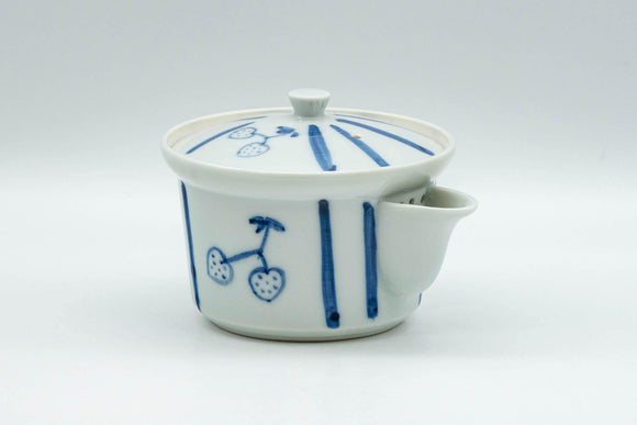 Japanese Houhin - Striped Blue White Porcelain Arita-yaki Teapot - 125ml - Tezumi