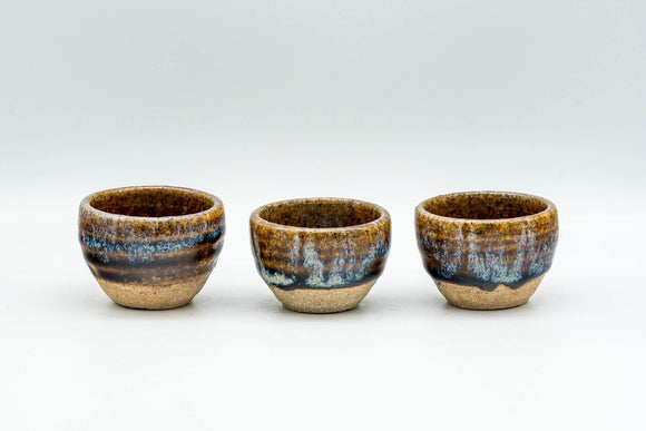 Japanese Teacups - Set of 3 Blue Drip-Glazed Guinomi - 25ml - Tezumi