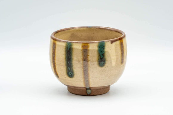 Japanese Teacup - Brown and Blue Striped Drip-Glazed Yunomi - 190ml - Tezumi