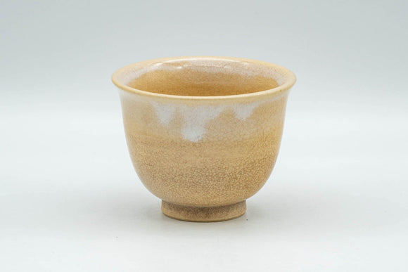 Japanese Teacup - Beige White Drip-Glazed Hagi-yaki Yunomi  - 90ml - Tezumi