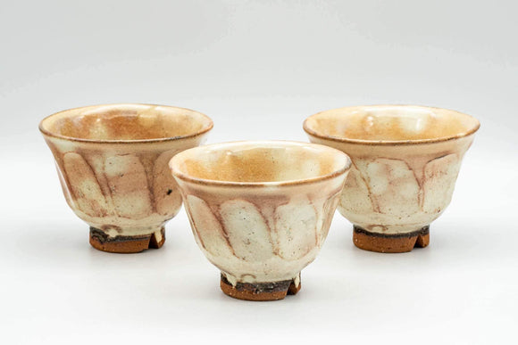 Japanese Teacups - Set of 3 Geometric Beige Glazed Hagi-yaki Yunomi - 110ml - Tezumi
