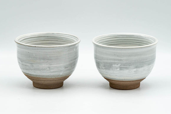 Japanese Teacups - Pair of Grey and White Glazed Spiral Yunomi - 180ml - Tezumi