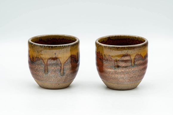Japanese Teacups - Pair of Red Honey Drip-Glazed Yunomi - 90ml - Tezumi