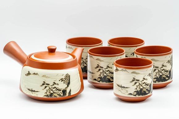 Japanese Tea Set - Countryside Scenery Tokoname-yaki Debeso Kyusu Teapot with 5 Yunomi Teacups - Tezumi