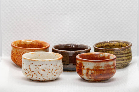 Japanese Teacup Set - 5 Uniquely Glazed Tsutsu-gata Guinomi - 45ml