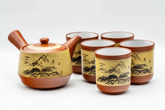 Japanese Tea Set - Mountainous Tokoname-yaki Debeso Kyusu Teapot with 5 White Inner Glazed Yunomi Teacups - Tezumi