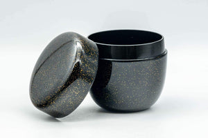 Japanese Natsume - Gold Speckled Black Lacquer Matcha Tea Caddy - 100ml - Tezumi