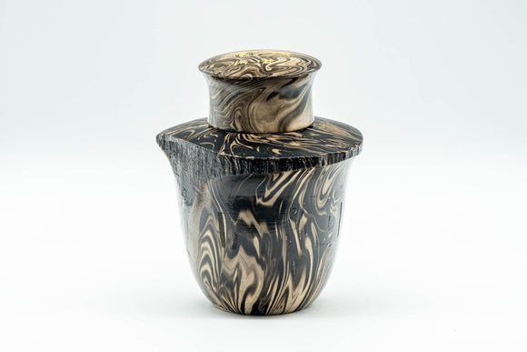 Japanese Chatsubo - Suminagashi Marbled Wooden Tea Canister - 200ml