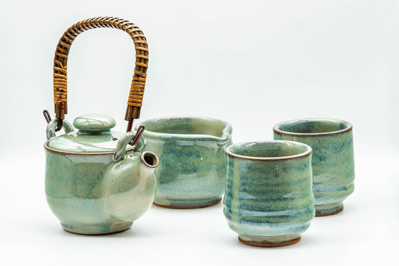 Japanese Tea Set - Green Glazed Dobin Do-ake Teapot with Katakuchi Water Cooler and 2 Yunomi Teacups